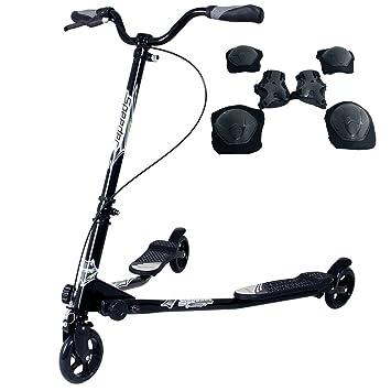 Yorbay Scooter Patinete de Tres Rueda Plegable Ajustable para niños (Negro): Amazon.es: Deportes y aire libre