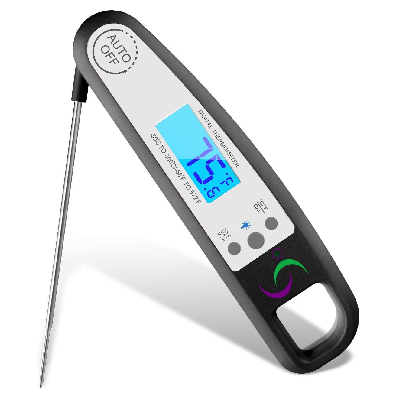 Sol-Chef Digital Instant Read Food Grilling Thermal Lance thermometer with Water & Heat Resistant Case Folding Probe & Backlight led for BBQ grill, Cooking meat, Baking, Liquids, and Oil Frying.