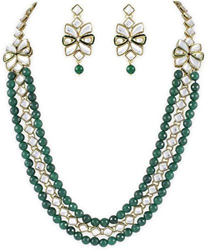 6817c0d5031 Buy Shining Diva Fancy Kundan Emerald Traditional Jewellery Set with  Earrings for Women (Green)(7960s) Online at Low Prices in India