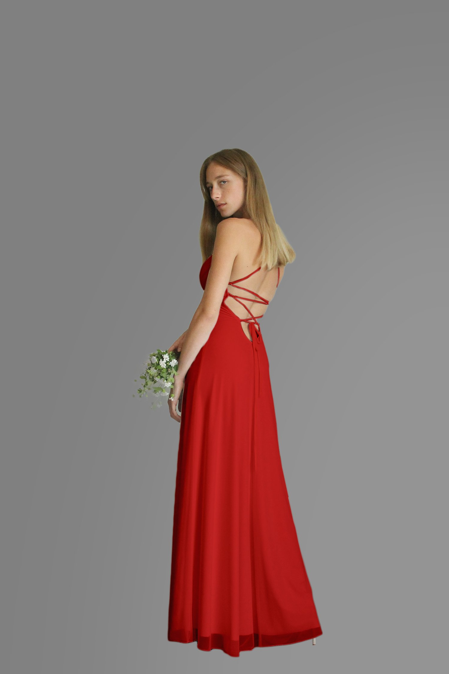 Women's Dress, Red Evening Dress, Size S, Maxi Long Dress for Wedding or Bridesmaid, Chiffon Lycra Classic Gown