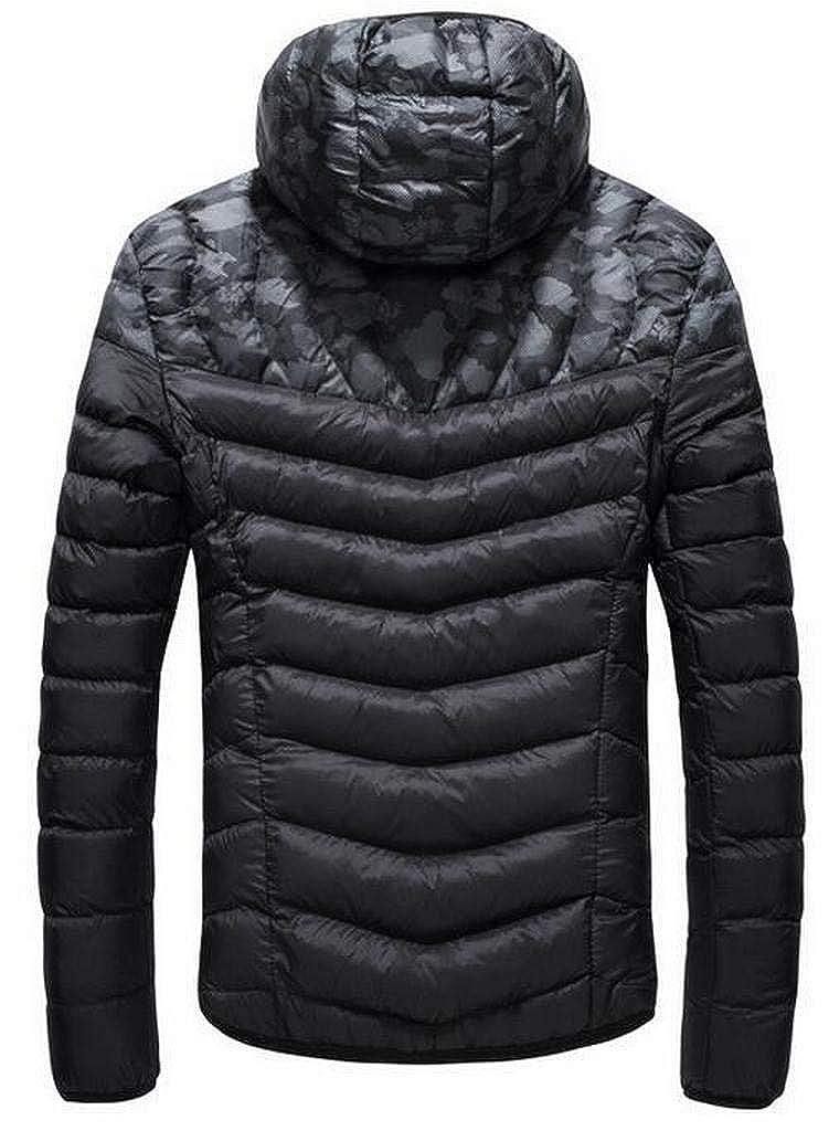 Fensajomon Men Thicken Stand Collar Hoodie Camo Print Down Quilted Jacket Coat Outwear