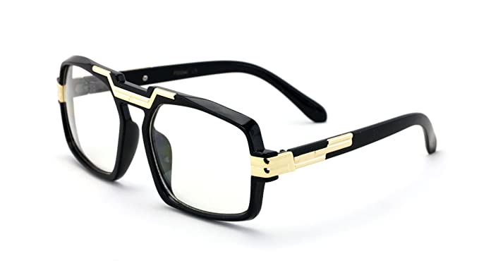 a83576c1b4db Image Unavailable. Image not available for. Color  Black Gold Entertainer  Hipster Clear Lens Glasses with Metal Trimming - Nerd Eyewear