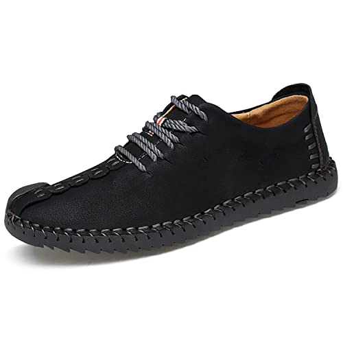 ed1eb8d819 Odema Men s Leather Oxfords Suede Casual Shoes Loafers Flats Lace Up  Walking Shoes Sneakers Black