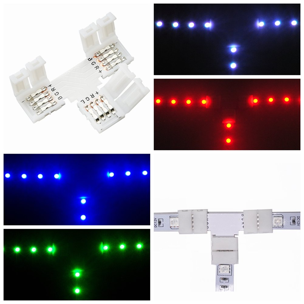 10 Pcs T Shape 4 Pins Connector 10mm Rgb Fpc Led Light Wireclip For Wiring Strips Photo Strip Connectors 90 Angle Corner With 30 Pack To Solderless