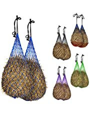 """Majestic Ally 2 pcs Slow Feed 56"""" Hay Net for Horses, Strong Soft Mess 3x3"""" Holes, Nylon Rope Hanging, Adjustable Travel Feeder for Trailer and Stall, Simulates Grazing, Reduces Waste (Royal Blue)"""