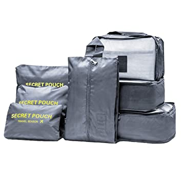 7 Set de Organizador de Equipaje Packing Cube, Organizador maleta, Organizador de equipaje, Bolsas de compresión de equipaje, Organizadores de viaje: ...