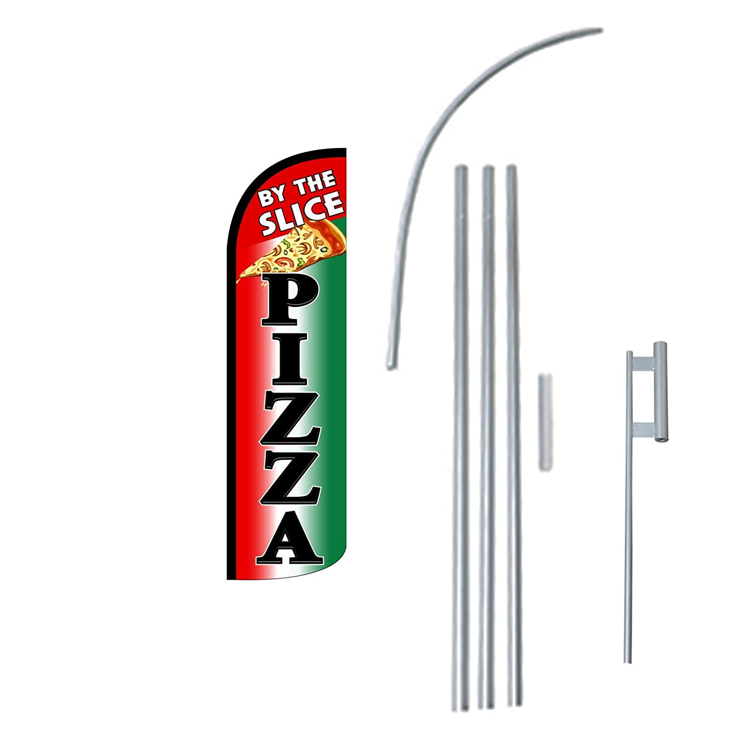 "NEOPlex - ""Pizza By The Slice"" 12-foot KING SIZE (WINDLESS) Complete Swooper Feather Flag Kit...includes 5-piece 15-foot Pole and Ground Spike"