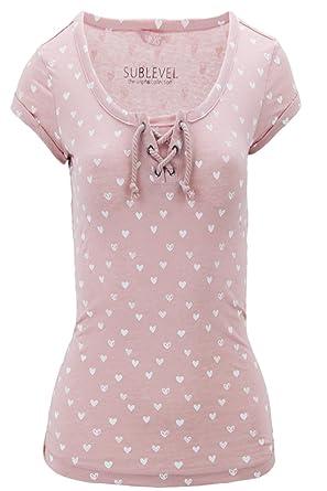 064b69362b3ff8 Sublevel Damen T-Shirt Shirt Top Print Herzchen Gr 40 L Rosa Herzchen