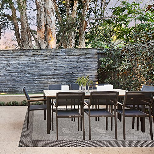 Gertmenian 48198 Platinum Label Furman Collection Modern Outdoor Patio Rug, 9' x 13' X Large, Charcoal Gray