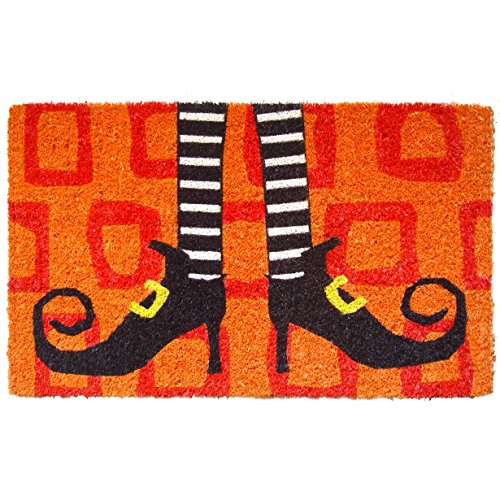 "Entryways Wicked Witch Shoes Handmade, Hand-Stenciled, All-Natural Coconut Fiber Coir Doormat,  18"" X 30"" X .75"" -"