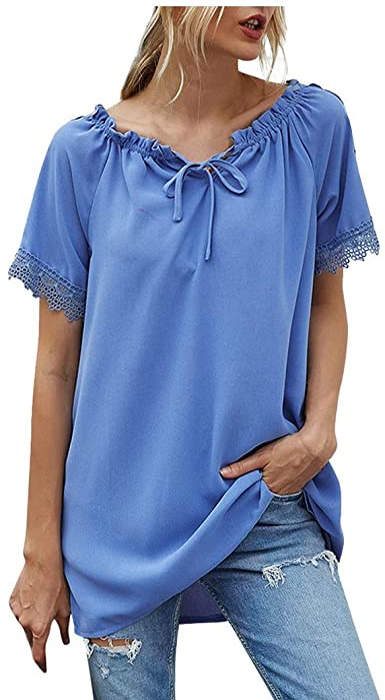 FAMILIZO_Camisetas Mujer Tallas Grandes Camisetas Mujer Verano Blusa Mujer Elegante Camisetas Mujer Manga Corta Algodón Camiseta Mujer Camisetas Mujer Fiesta Camisetas Sin Hombros Mujer: Amazon.es: Ropa y accesorios