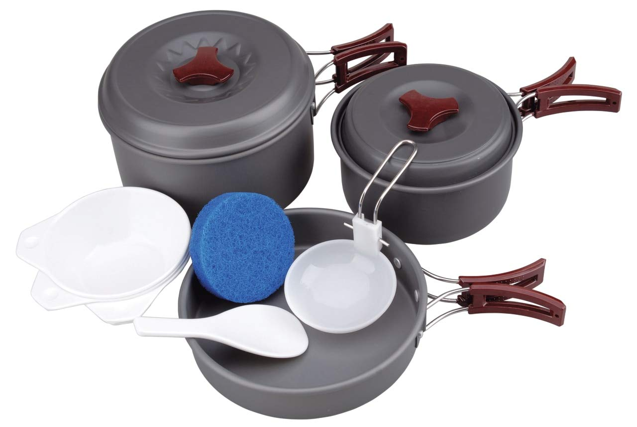 AceCamp Hard-Anodized Portable Camping Cookware Set, Stackable Nonstick Aluminum Cooking Mess Kit, Lightweight Family Pots, Pans, Cups, Bowls & More with Mesh Carrying Bag (Medium - 2-3 Person Set) by AceCamp
