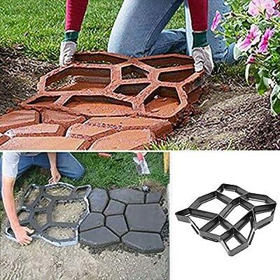 Molde para hacer caminos de jardín para hacer caminos de jardín, hormigón, cemento, plantilla de forma de piedra: Amazon.es: Bricolaje y herramientas