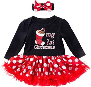 Newborn Baby Girls My First Christmas Tutu Dress New Year 3Pcs Outfits Costume Toddlers Kids Xmas Dress Up Party Long Sleeve Romper Tops Tutu Skirt Dress Headband Set 0-24 Months