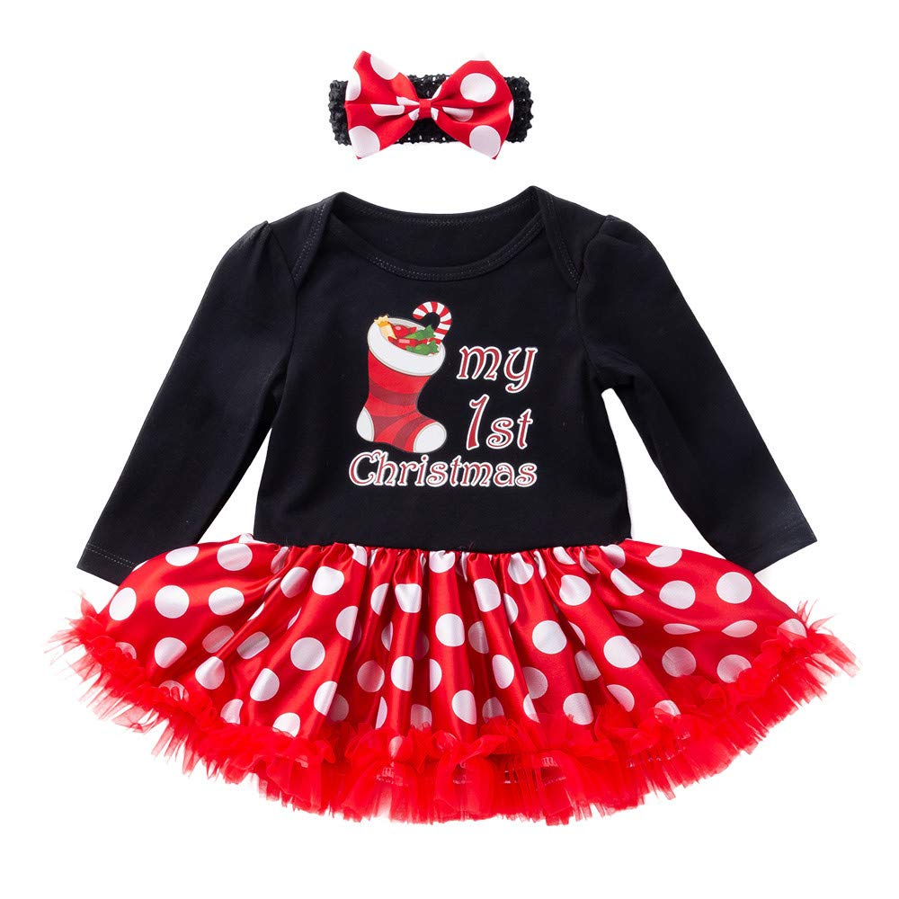 sunnymi for 0-24 Months Kids 2Pcs Newborn Infant Baby Girl Romper Princess Letter Tutu Dress Christmas Outfits Clothes Set