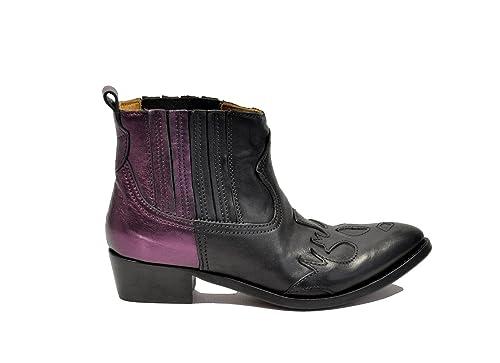 Golden Goose Mujer G29ws327e69 Negro/Morado Cuero Botines: Amazon.es: Zapatos y complementos