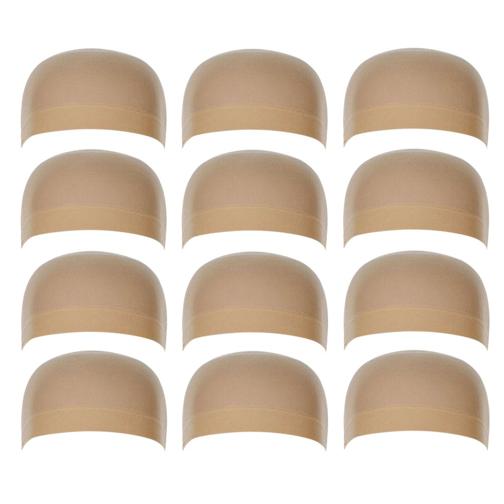 12 Pack Nylon Wig Caps for Women and Men Elastic Stretchy Close End Stocking Wig Caps Neutral Nude Beige Rise World