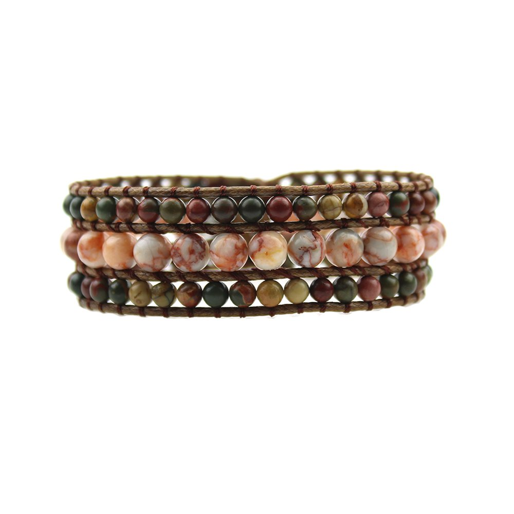IUNIQUEEN New Arrival Natural King Stone with Alloy Sunflower Button Genuine Leather Wrap Bead Bracelet (Picasso Stone&Agate)