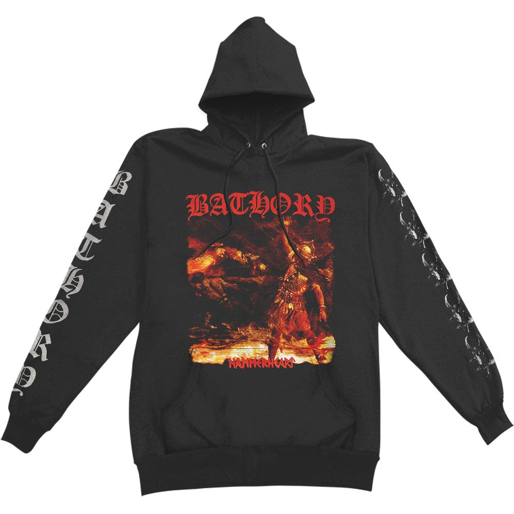 Rockabilia Bathory Men's Hammerheart Hooded Sweatshirt Black KINGS ROAD MERCH