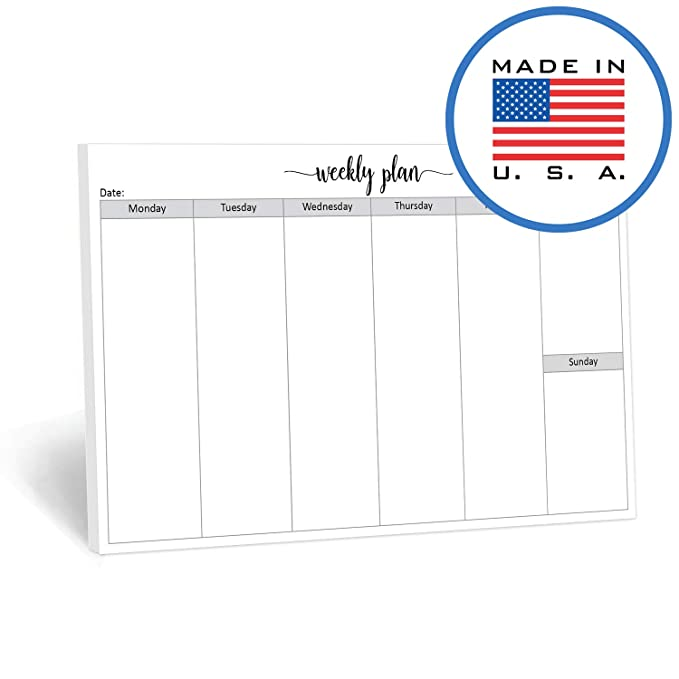 graphic about Blank Weekly Planner referred to as 321Finished Blank 7 days Designing Pad Landscape - 50 Sheets (8.5\