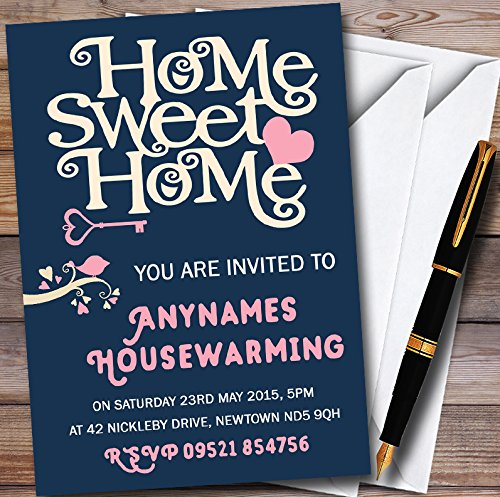 10 x Navy Blue Home Sweet Home Personalized Housewarming Party Invitations