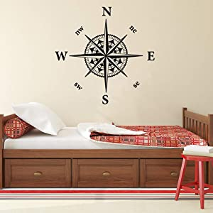 YttBuy Nautical Compass Wall Decal Captain Compass Rose Vinyl Decal Sticker for Living Room Boys Bedroom