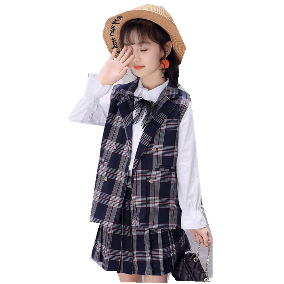 Girls Suits Childrens Clothing Spring Autumn Baby Plaid Vest Skirt Two-Piece