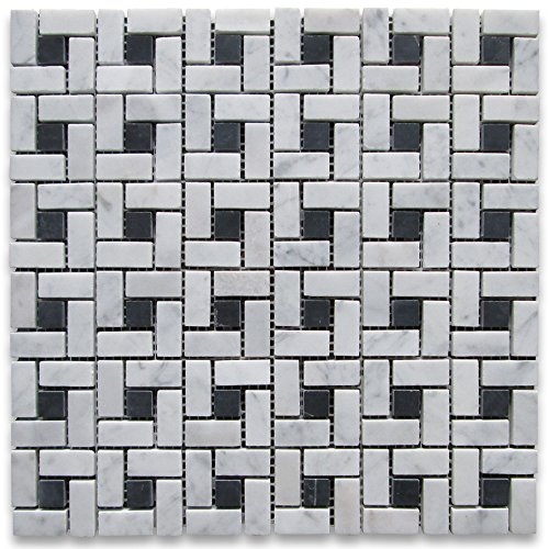 Carrara White Italian Carrera Marble Target Pinwheel Mosaic Tile Black Dots Honed (Tile Mosaic Flooring Bianco)