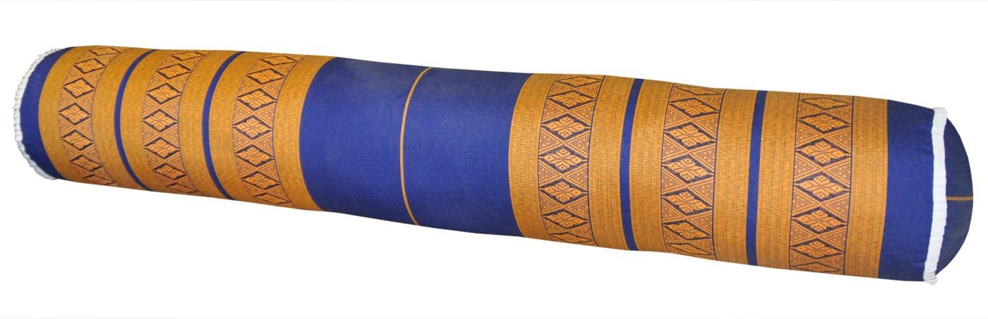 Thai cushion round bolster, pillow, sofa, imported from Thaïland, blue/yellow, relaxation, beach, pool, meditation garden (82112) by Wilai GmbH