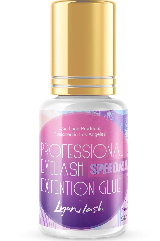 SPEEDMAX Eyelash Extension Glue - Lyon Lash 5ml Performance Glue | 1 Sec Dry Time | Up to 8 Weeks Retention | Black Adhesive Supplies for Professional Use