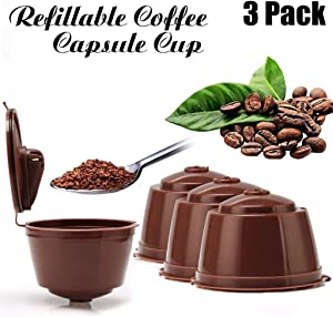 JETTINGBUY 3Pcs Refillable Coffee Capsules Cup, Durable Reusable Coffee Pods Filter Cup for Dolce Gusto, Compatible