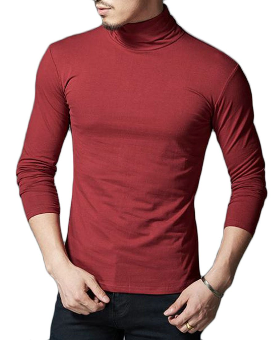 Cruiize Mens Turtleneck Classic Long Sleeve Cotton Solid Top T Shirt