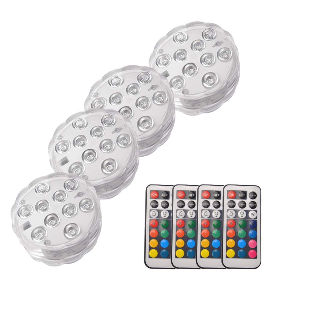 OUSHE 4PCS Submersible LED Lights Waterproof Underwater IR Remote Controlled 10-LED Battery Powered RGB Changing Multi Color Light Decoration Event Party/Aquarium/Home/Swimming Pool/Pond/Gardens