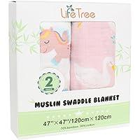 "LifeTree Muslin Swaddle Blankets Girl - 2 Pack Unicorn & Swan Soft Muslin Blanket - Large 47""x47"" Summer Baby Girl Blanket"