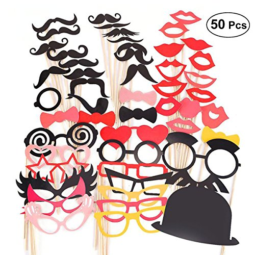 Amosfun Weddings Photo Booth Props Glasses Beard DIY Kit for Weddings Photo Shoots Special Events Party Favors 50pcs -