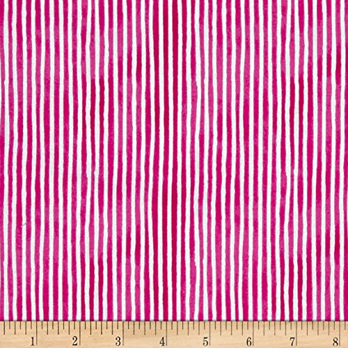 Cool Stripe Dog (Windham Fabrics Hot Dogs & Cool Cats Organic Stripe Fabric by the Yard, Fuchsia)