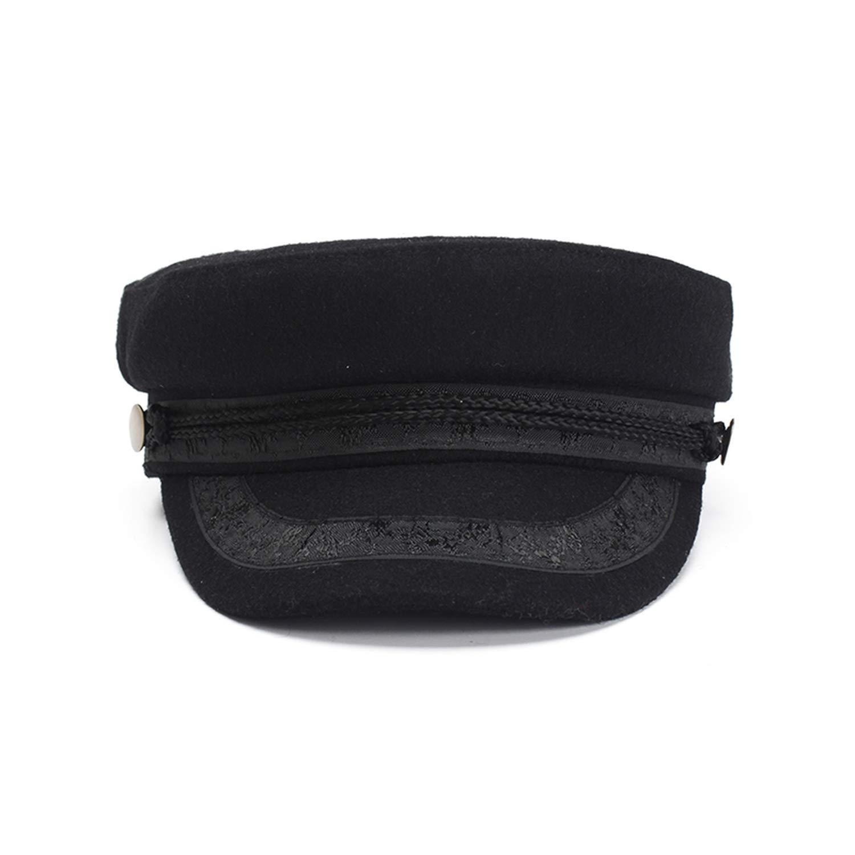 MEIZOKEN Women Black Newsboy Caps Autumn Winter Wool Military Hat Octagonal Hats Gorras, Black, One Size at Amazon Womens Clothing store: