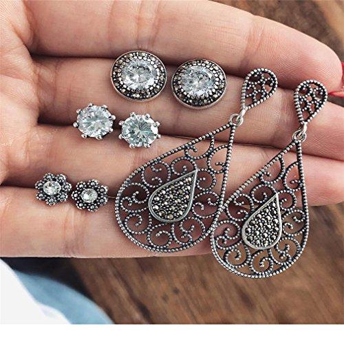 Iumer 4Pcs Fan-Shaped Dangle Earring Sets Diamond Ear -