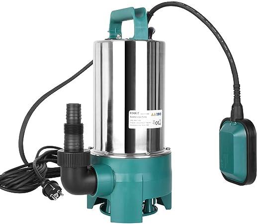 Bomba Sumergible de Agua, FIXKIT Bomba de Aguas Sucias 9m Altura Máx de Bombeo 35 mm Tamaño Máx de Partícula de Entrada con Asa de Transporte