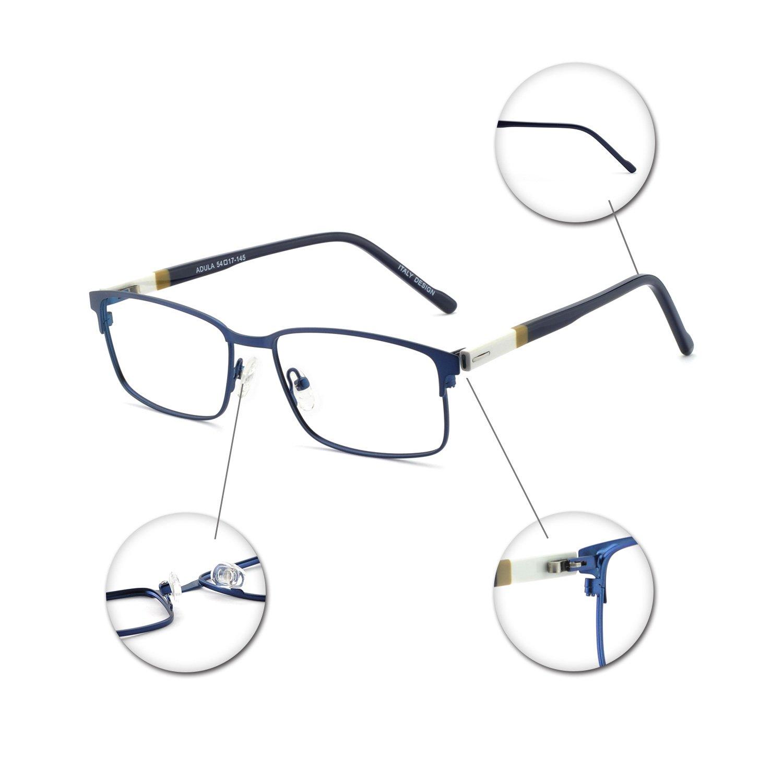 cc7aabf26a7 OCCI CHIARI Mens Rectangle Full-Rim Metal Black Non-Prescription Clear  Optical Glasses 54mm …