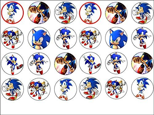 24 Sonic the Hedgehog Edible Wafer Paper Cup Cake Toppers by ()