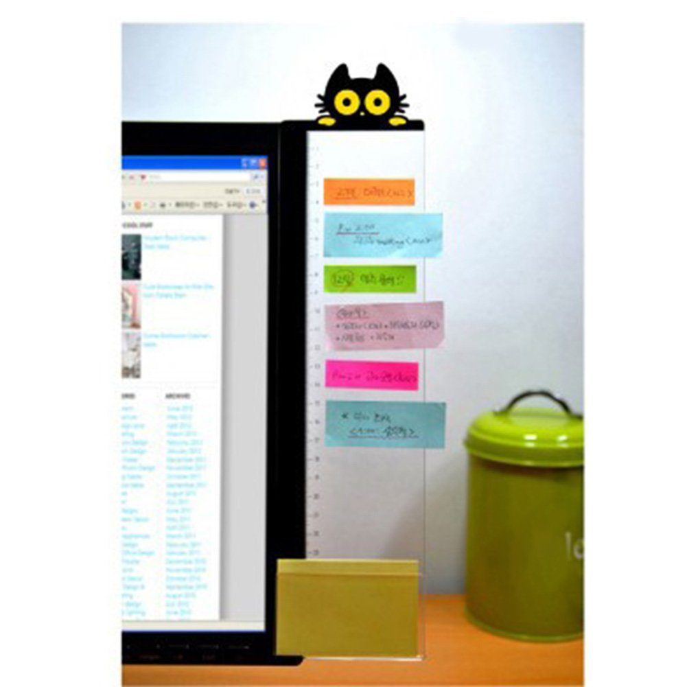 Monitor Message Board,Computer Monitors Sticky Note Holder Sticky Boards for Computer Monitors Screen Office Home(Cat Style1 Right) MOOUS