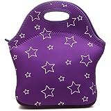 Cosfashネオプレンランチハンドバッグ再利用可能男性女性大人子供幼児看護婦用ランチボックス (パープル スター)