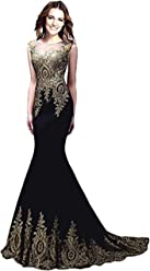 a0cf1331da97 Butmoon Long Mermaid Prom Dress for Women Sexy Maxi Prom Evening Gown with  Appliques