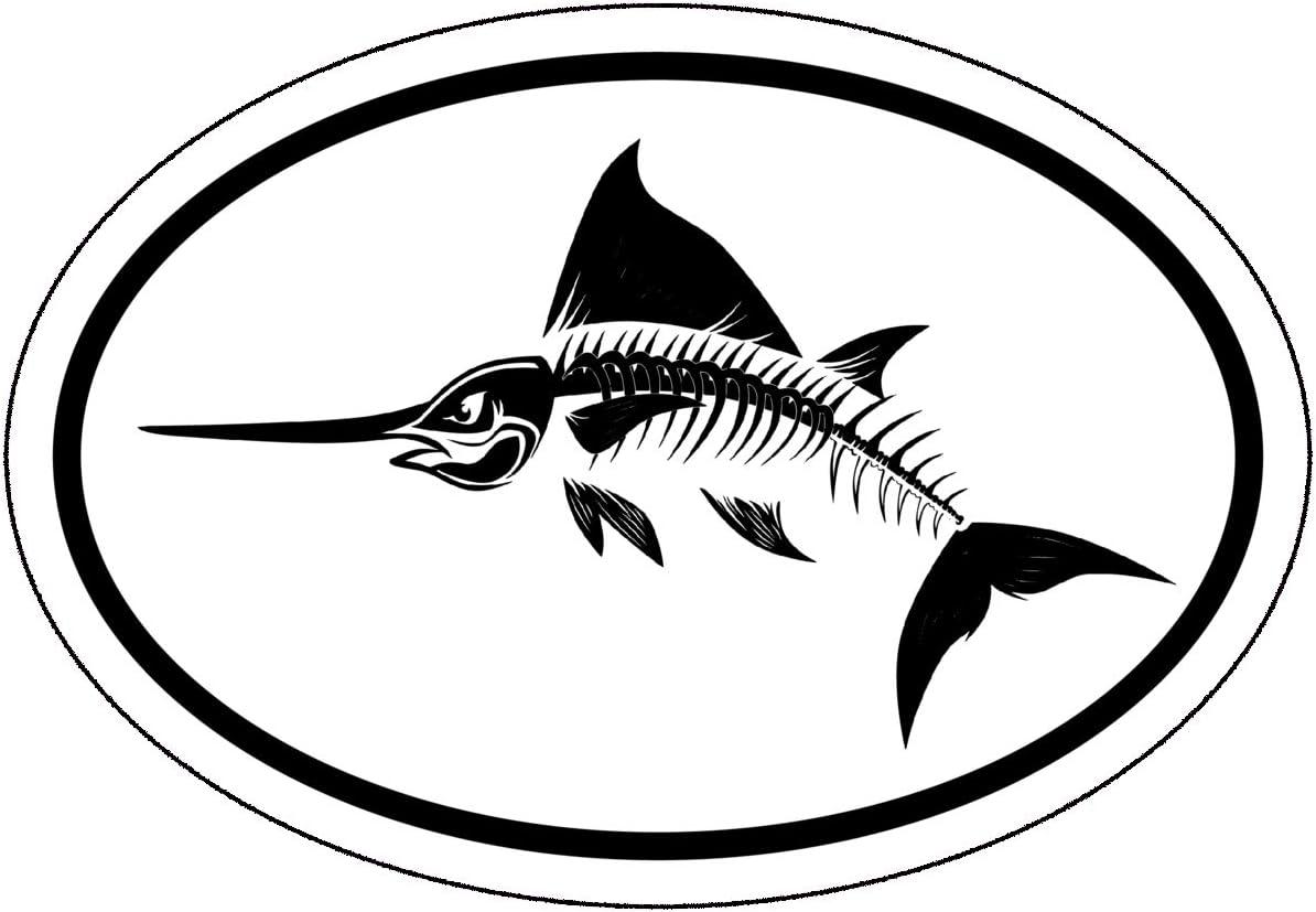 Oval Bone Swordfish Vinyl Decal - Saltwater Fishing Bumper Sticker - Perfect for Laptops Tumblers Windows Cars Trucks Walls