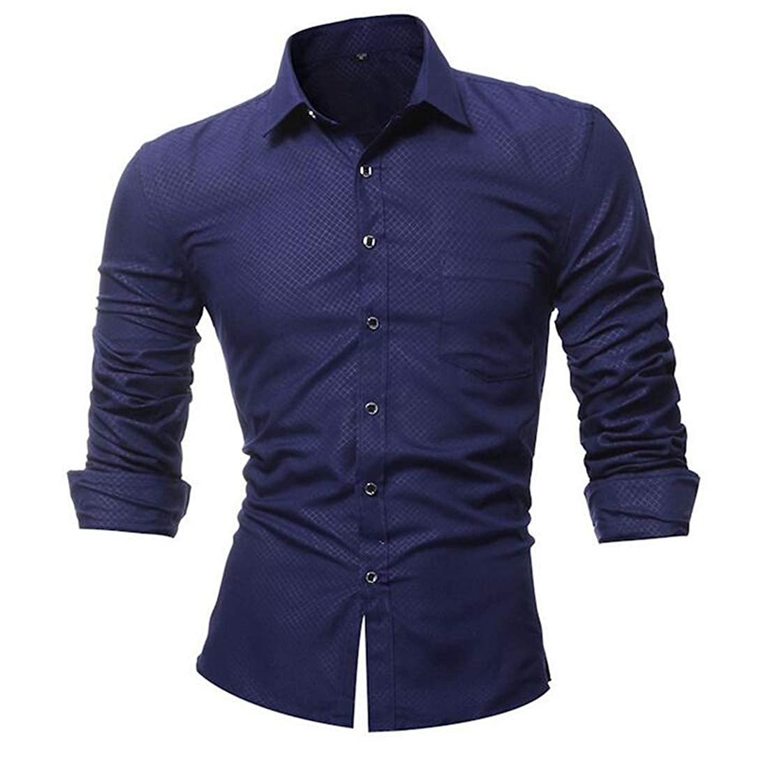 Nanquan Men Casual Solid Slim Button Front with Pocket Long Sleeve Shirt