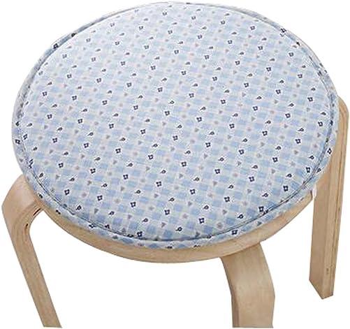 Black Temptation Creative Round Stool Cushion Warm Sponge Pad Bar Stool Mat Blue Flower