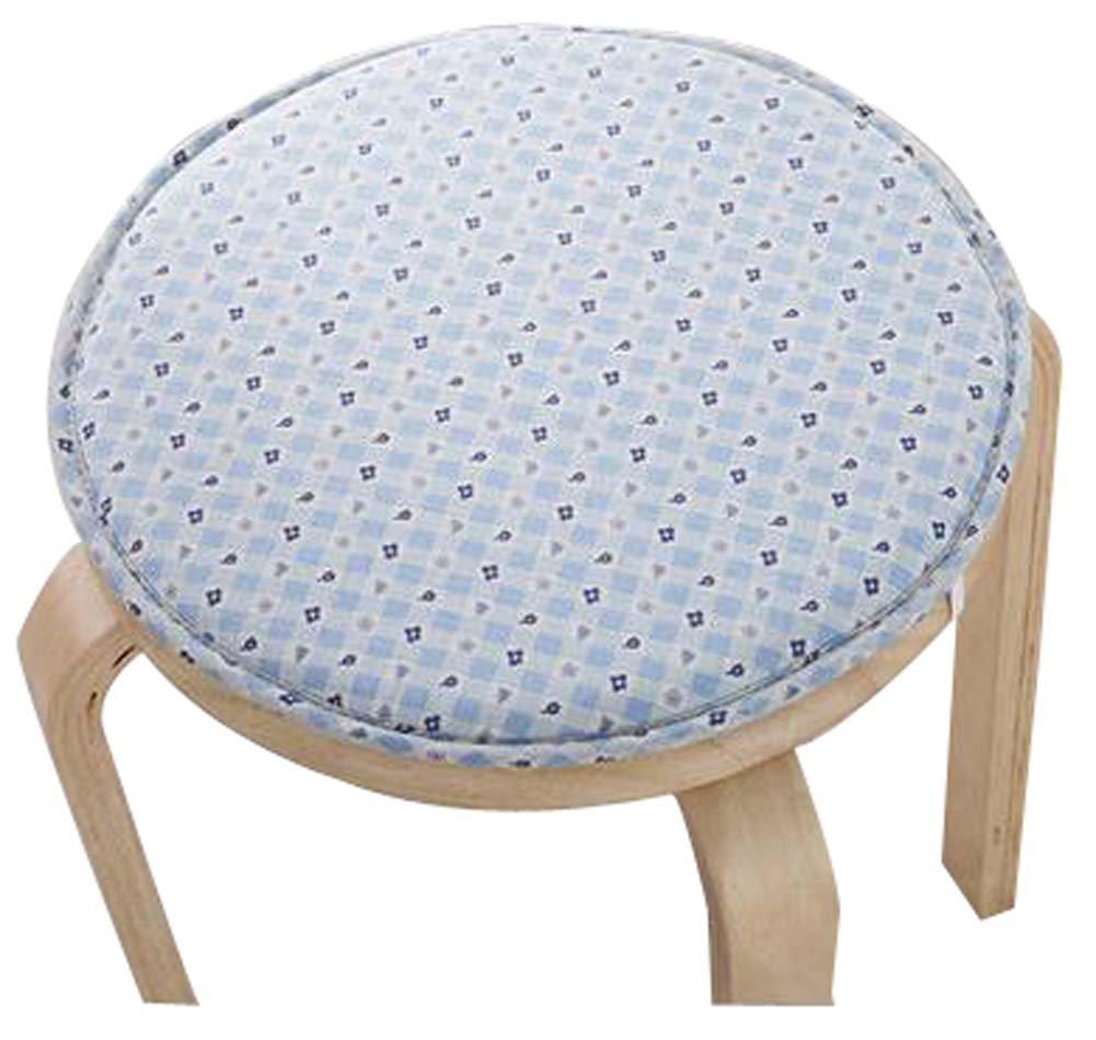 Creative Round Stool Cushion Warm Sponge Pad Bar Stool Mat Blue Flowers by Black Temptation