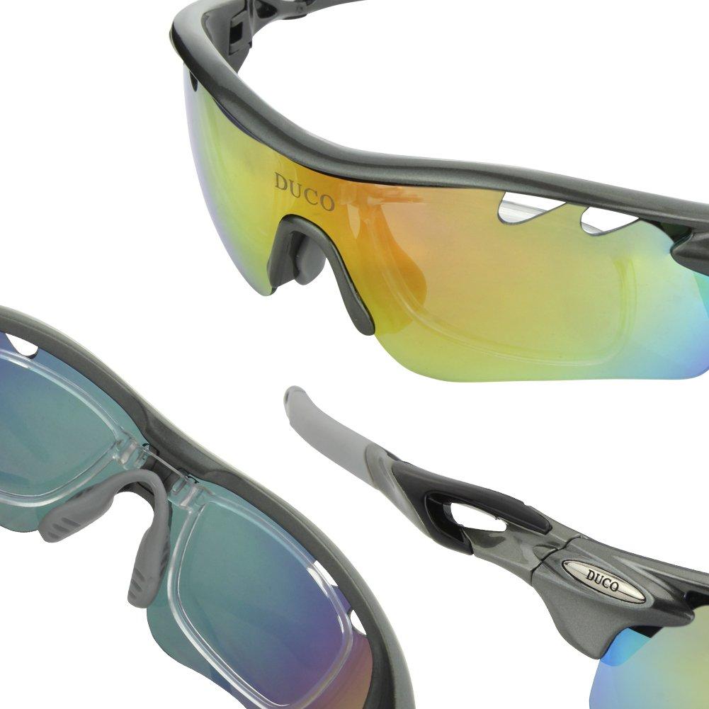 ba32fe2657 DUCO 0025 Gafas de Sol Deportivas con 5 Lentes Intercambiables Protección  UV400 Anti Rayos UVA UVB UVC polarizadas