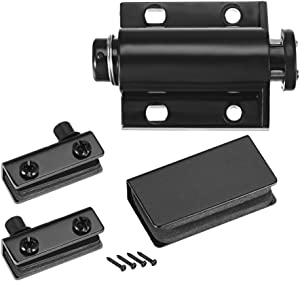 uxcell 5-6mm Glass Door Magnetic Catch Latch Closures ABS Black with Clamp 2 Set